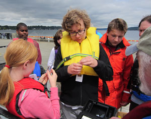 Students on the dock at NOAA Sand Point