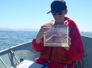 Miranda with a fish sample