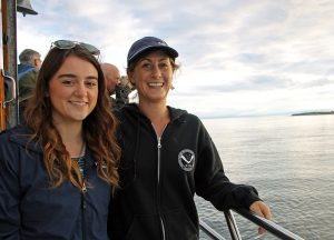 Alexis and Ali on a research boat