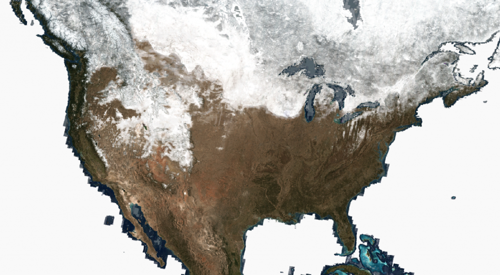 US map showing snow cover