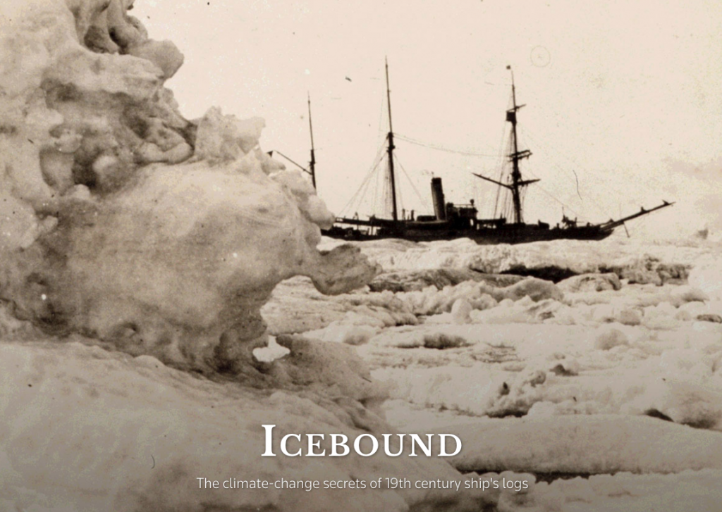 Historic picture of ship surrounded by sea ice.