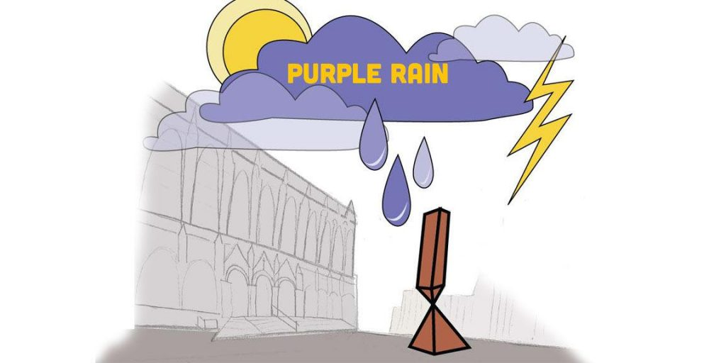 drawing of purple cloud raining on Red Square at UW