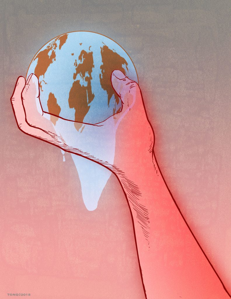 Drawing of hand holding the Earth